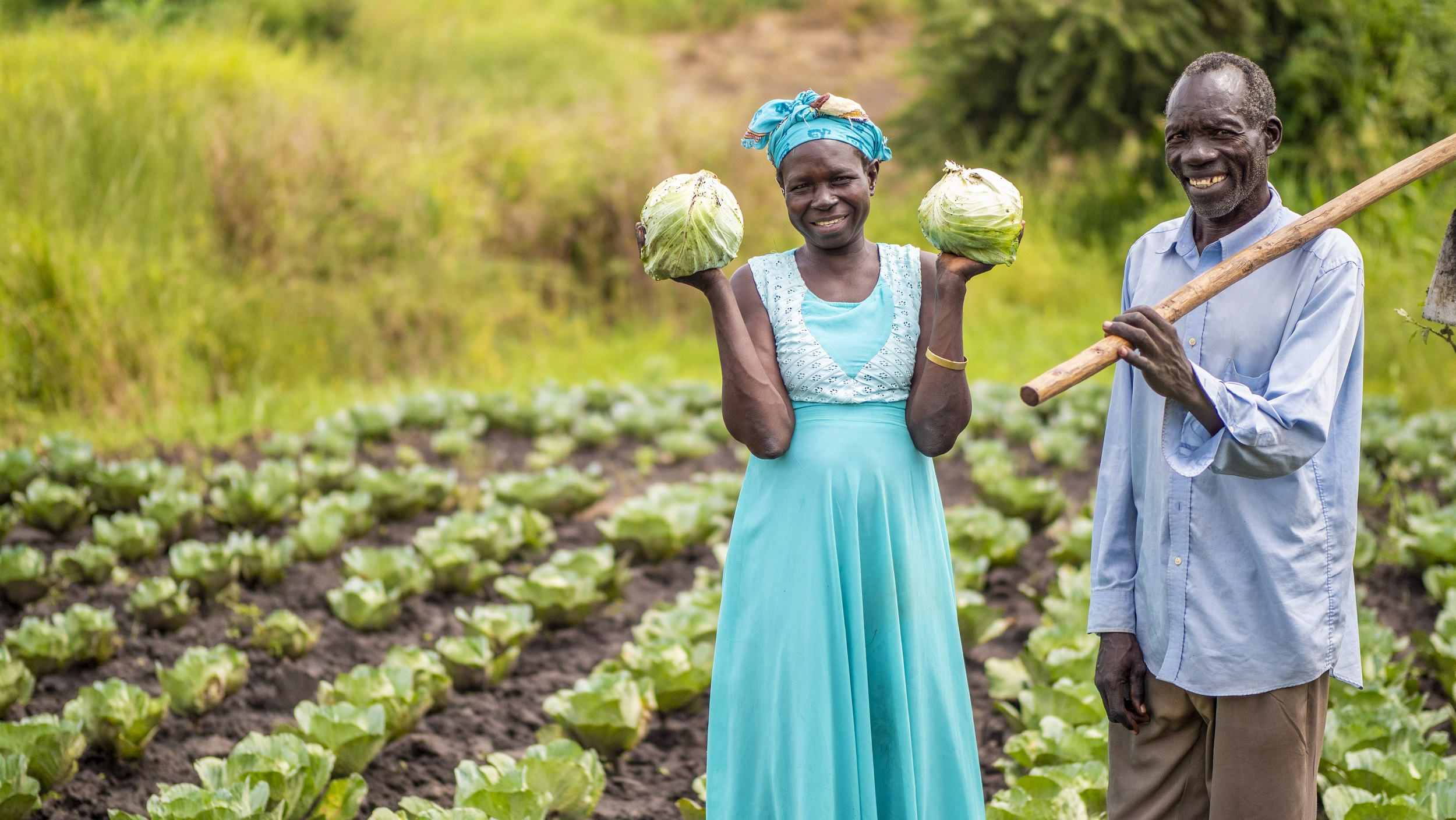 Joska and her huband in their garden with cabbages