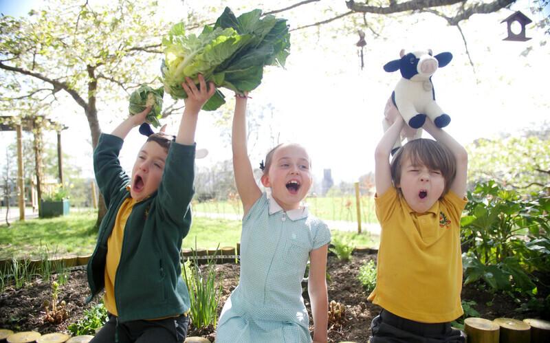 Kids with veg
