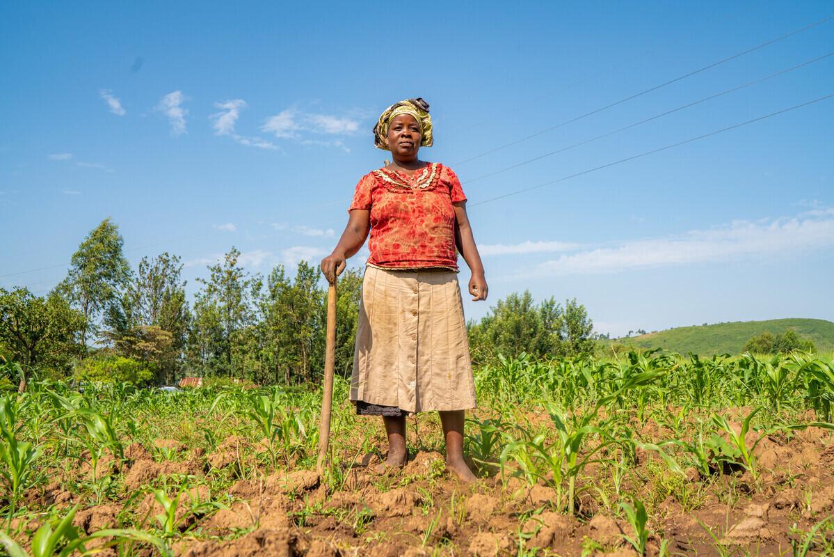 Leah on her farm in Kenya