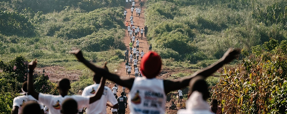 Uganda Marathon Runners cheering