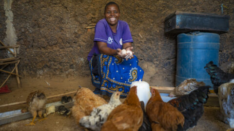 Caroline with her chickens
