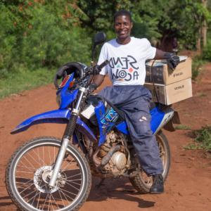 A man called Sam on a motorbike